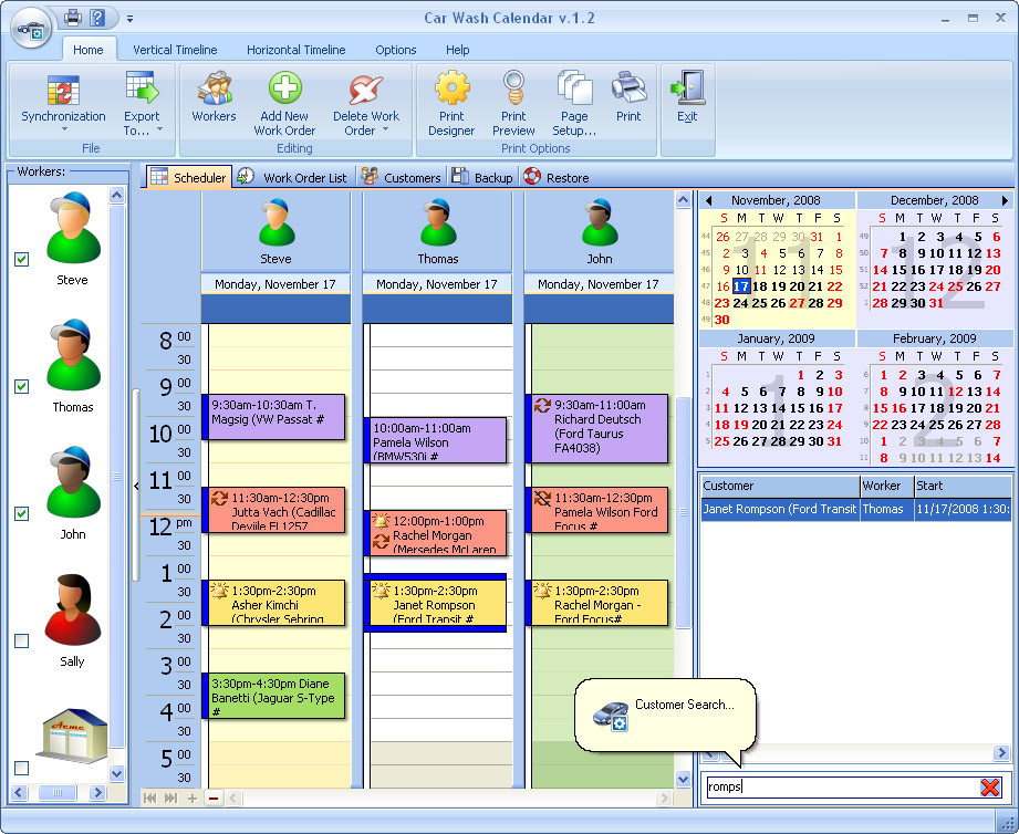 Click to view Car Wash Calendar for Workgroup 3.4 screenshot