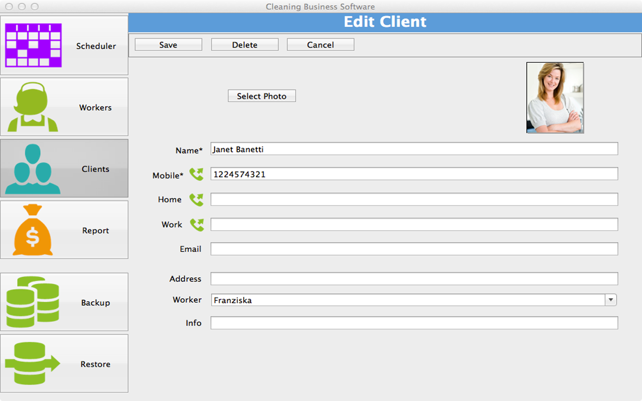 Cleaning Business Software for MAC full screenshot