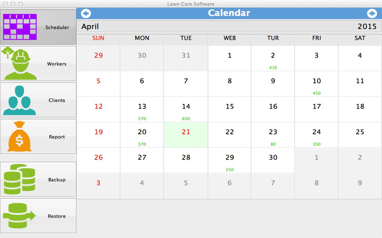 lawn care software for mac calendar